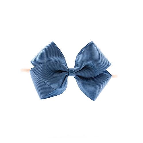 Medium London Bow Soft Hairband - Antique Blue