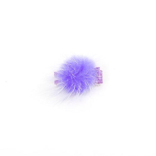 Small Mink Puff Hair Clip - Purple
