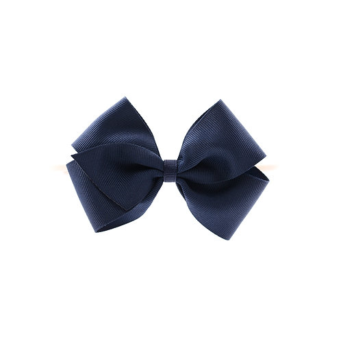 Medium London Bow Soft Hairband - Navy