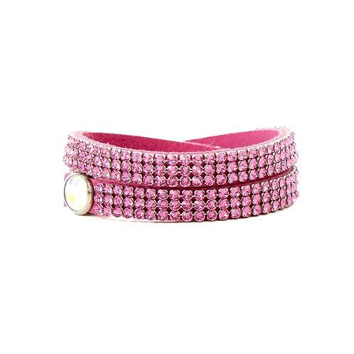 Three Row Double Wrap Bracelet - Rose