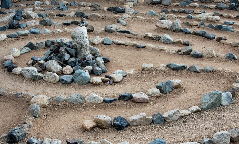 Traditional natural stone walking labyri