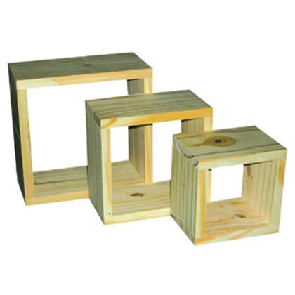 PC1 Core Natural Wood Set Of 3 Wall Cubes (220/180/140x100mm)