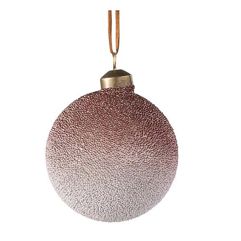 BAUBLE PEARL GLASS RED/CHAMP S (8x8x8cm)
