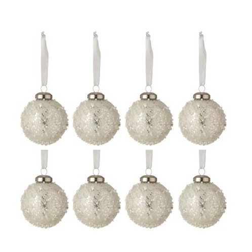 BAUBLE PEARL GLASS WHITE/SILVER BOX OF 8 (8x8x8cm)