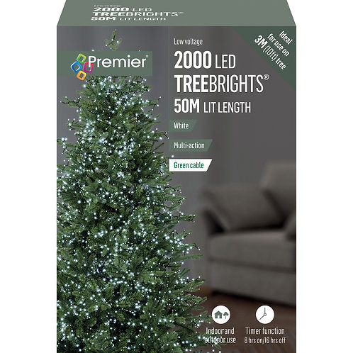 2000 LED MULTI-ACTION TREEBRIGHTS W/TIMER WHITE