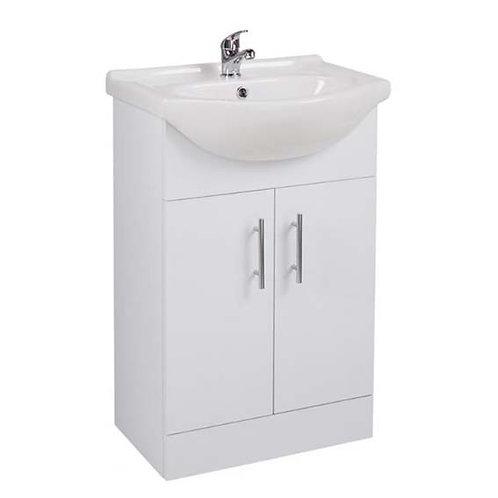 Kass Floor Standing Vanity Unit & Wash Basin White - 55cm
