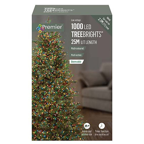 1000 LED MULTI-ACTION TREEBRIGHTS WITH TIMER - MULTI COLOURED