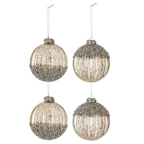 LARGE BAUBLE GLASS SILVER WITH GLITTER BOX OF 4 (24.5x24.5x11.5cm)