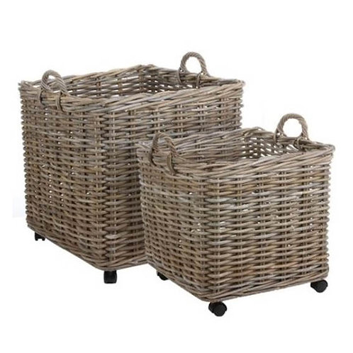 Marcia Square Baskets on Wheels - Set of 2