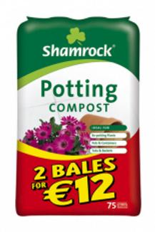 2 for €12.00 Shamrock Potting Compost 75ltr