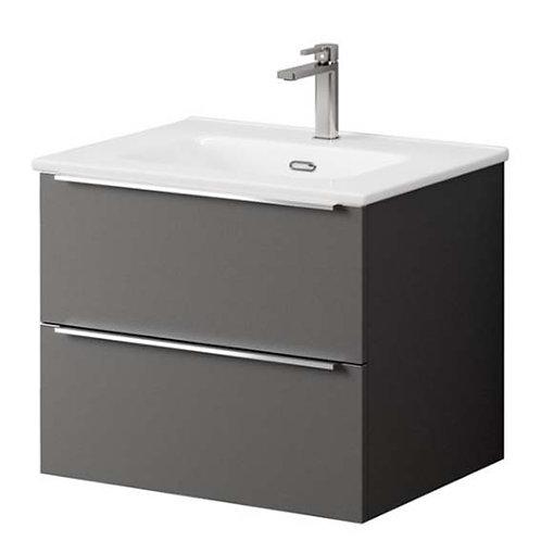 Kara 60cm Ceramic Basin & 2 Drawer Wall Hung Unit - Matt Grey