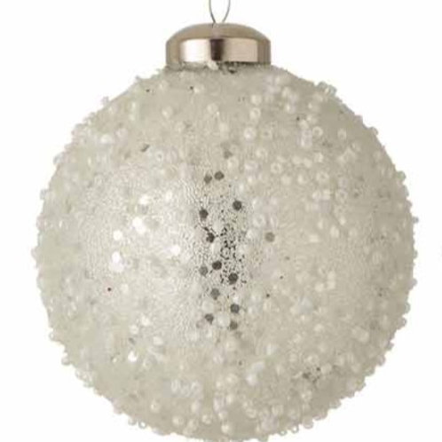 BAUBLE PEARL GLASS WHITE/SILVER  (8x8x8cm)