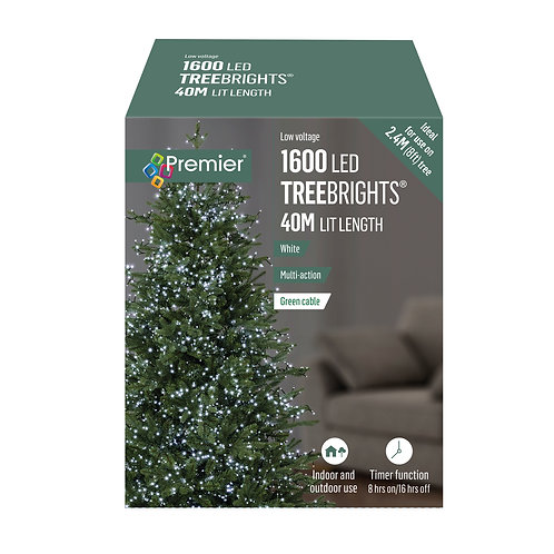 1600 LED MULTI-COLOURED TREE BRIGHTS WITH TIMER