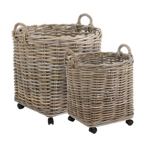 Marcia Round Baskets on Wheels - Set of 2