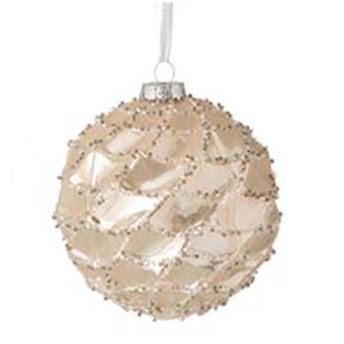 BAUBLE FLAT GOLD CREAM WITH GOLDEN TREE (10x10x10cm)