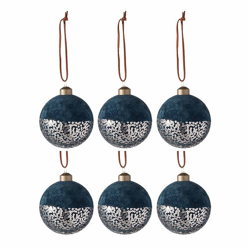 BAUBLE VELVET/SEQUIN DEEP BLUE BOX OF 6 (8x8x8cm)