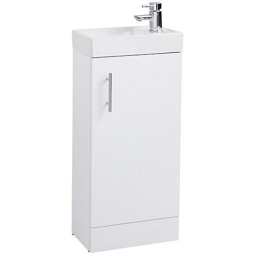 Cube Compact Vanity Unit & Washbasin Gloss White - 40cm