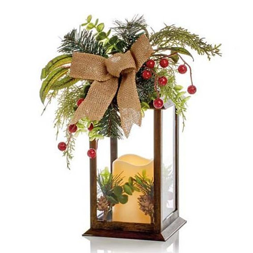 LANTERN WITH LED CANDLE AND RIBBON - BRONZE (31cm)