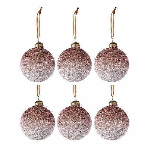 BAUBLE PEARL GLASS RED/CHAMP BOX OF 6 (8x8x8cm)