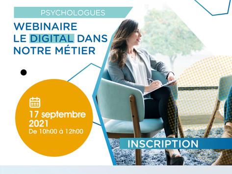 Psychologues - Webinaire : Le digital dans mon métier – 17 septembre à 10h00