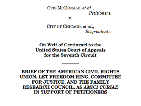 Amicus Brief Filed in McDonald v. City of Chicago