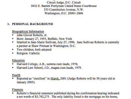 Report: An Examination of Judge Roberts' Record