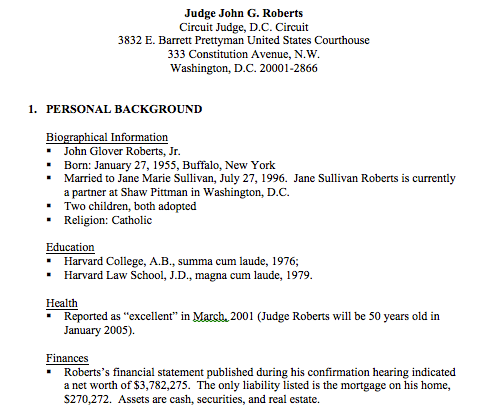 The Committee for Justice reports on the record of Judge Roberts.