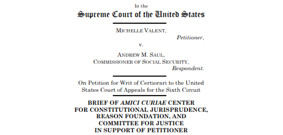 Should the Court Overrule Chevron? Amicus Brief Filed in Valent v. Saul in Support of Petitioner