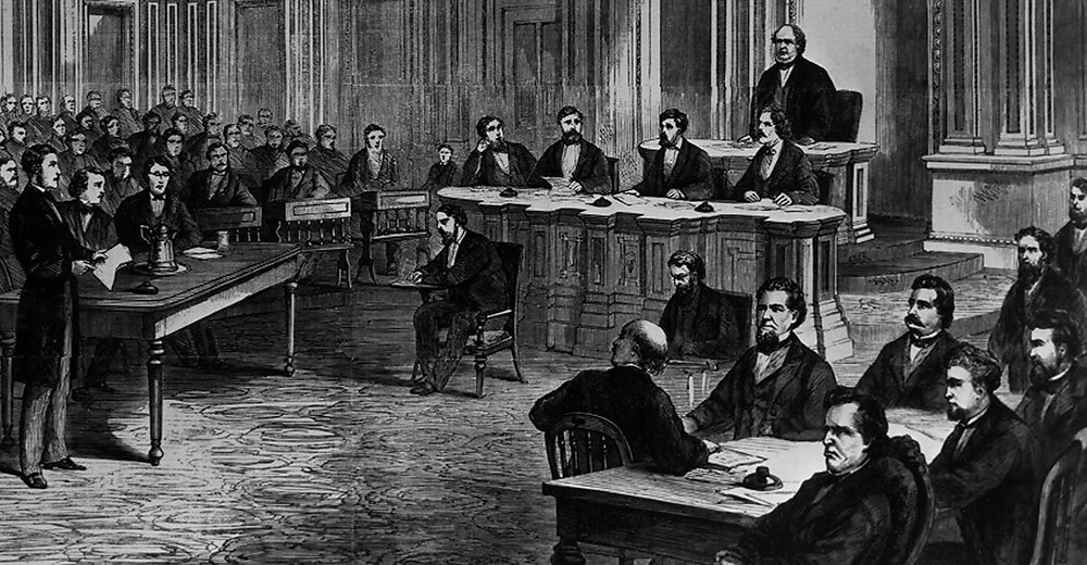 Members of the U.S. Senate and curious onlookers attend the opening of the trial of President Andrew Johnson in 1868. The House impeached him for firing the secretary of war without consulting the Senate in violation of a new law. (Photo: Senate Historical Office/KRT/Newscom)