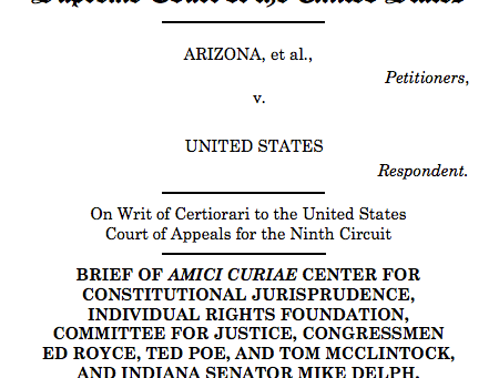 CFJ Files Briefs in ObamaCare and Arizona cases