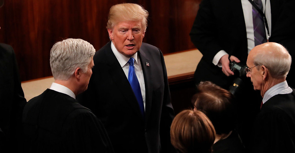 President Donald Trump greets, from left, Supreme Court Justices Neil Gorsuch, Sonia Sotomayor, and Stephen Breyer after his State of the Union address Jan. 30 to a joint session of Congress. (Photo: Carlos Barria/Reuters /Newscom)