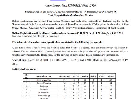 West Bengal Health Recruitment Board (WBHRB): Tutor/ Demonstrator (Anticipated) Vacancies