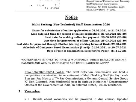 SSC MTS Recruitment 2021: Check Details