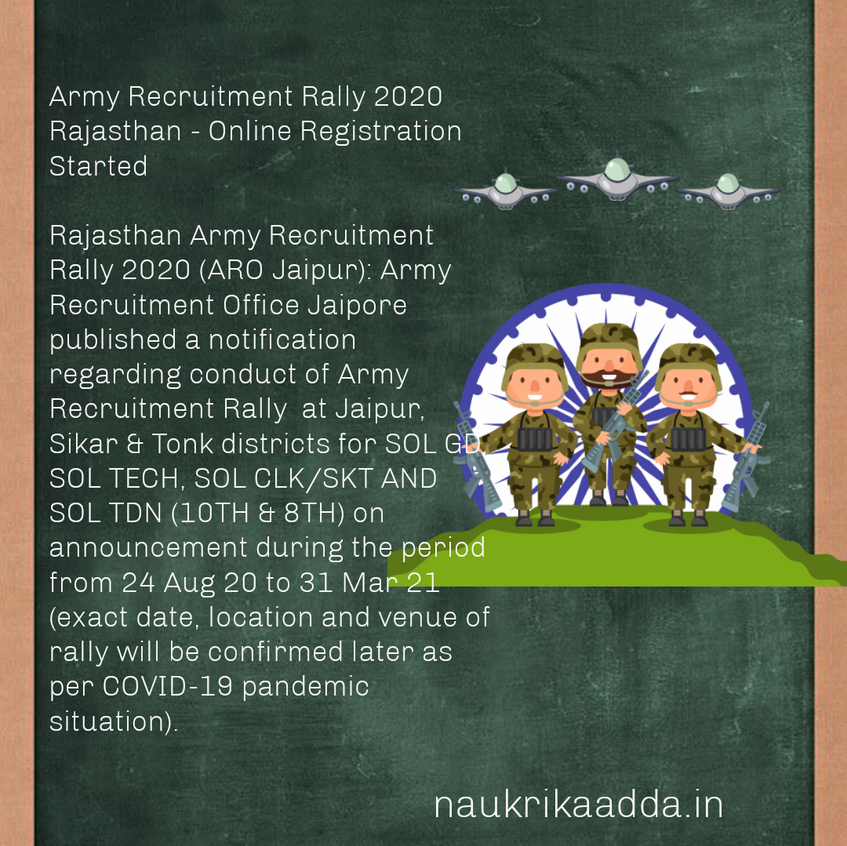 Army Recruitment Rally 2020 Rajasthan - Online Registration Started