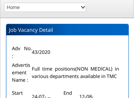 Tata Memorial Centre (TMC) Parel, Mumbai Recruitment 2020 - 125 Various Vacancies