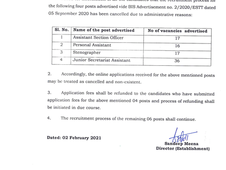 BIS Recruitment 2020 Cancelled: Check Latest News