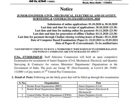Staff Selection Commission (SSC) Junior Engineer (JE) Recruitment 2020: Apply Now
