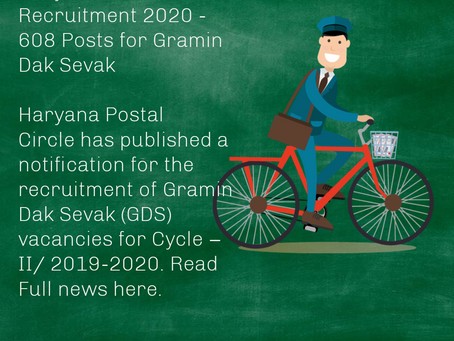 Haryana Postal Circle Recruitment 2020 - 608 Posts for Gramin Dak Sevak
