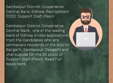 Sambalpur District Cooperative Central Bank, Odisha, Recruitment 2020: Support Staff (Peon)