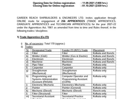 GRSE Apprentice Recruitment 2021: 256 Vacancies