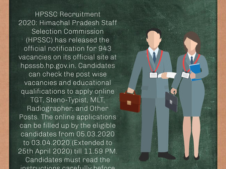 Himachal Pradesh Staff Selection Commission (HPSSC) Recruitment 2020: Last Date Extended – Apply Now