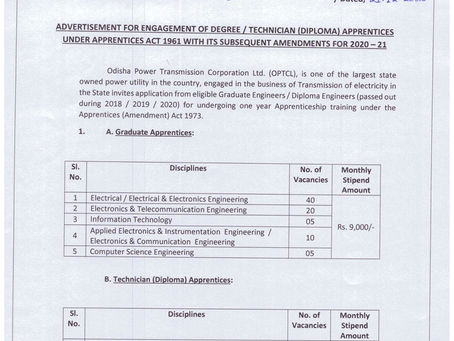 Odisha Power Transmission Corporation Limited (OPTCL) Recruitment 2020: Apprentice Vacancies