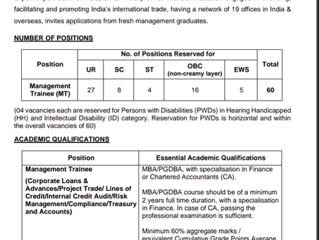 Export Import Bank of India (EXIM) Job 2020