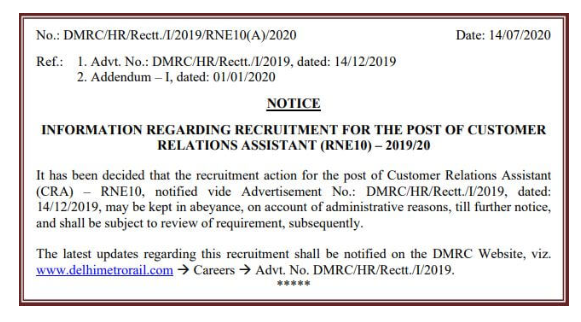 Delhi Metro Rail Corporation Limited (DMRC) Recruitment 2020 - Except CRA, Result Declared, Vacancies Reduced