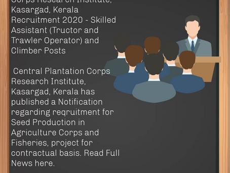 ICAR - Central Plantation Corps Research Institute, Kasargad, Kerala Recruitment 2020