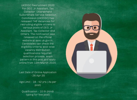 Uttarakhand Subordinate Service Selection Commission Recruitment - Online Application Re Opened