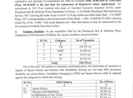 Odisha Public Service Commission (OPSC) Recruitment 2020 - Asst Executive Engineer (Civil) vacancies