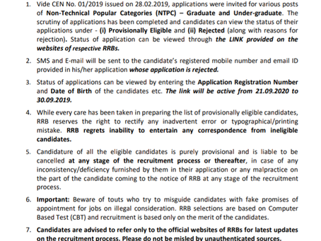Railway Recruitment Board (RRB) NTPC Exam Application Status Released. Check Now