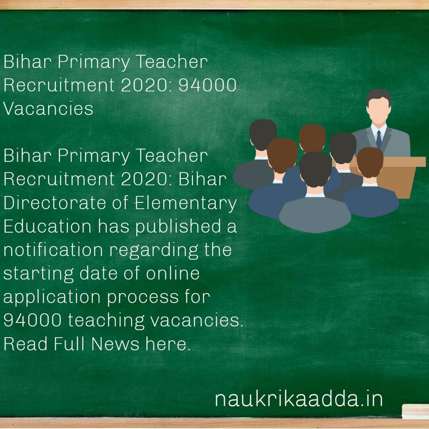 Bihar Primary Teacher Recruitment 2020: 94000 Vacancies