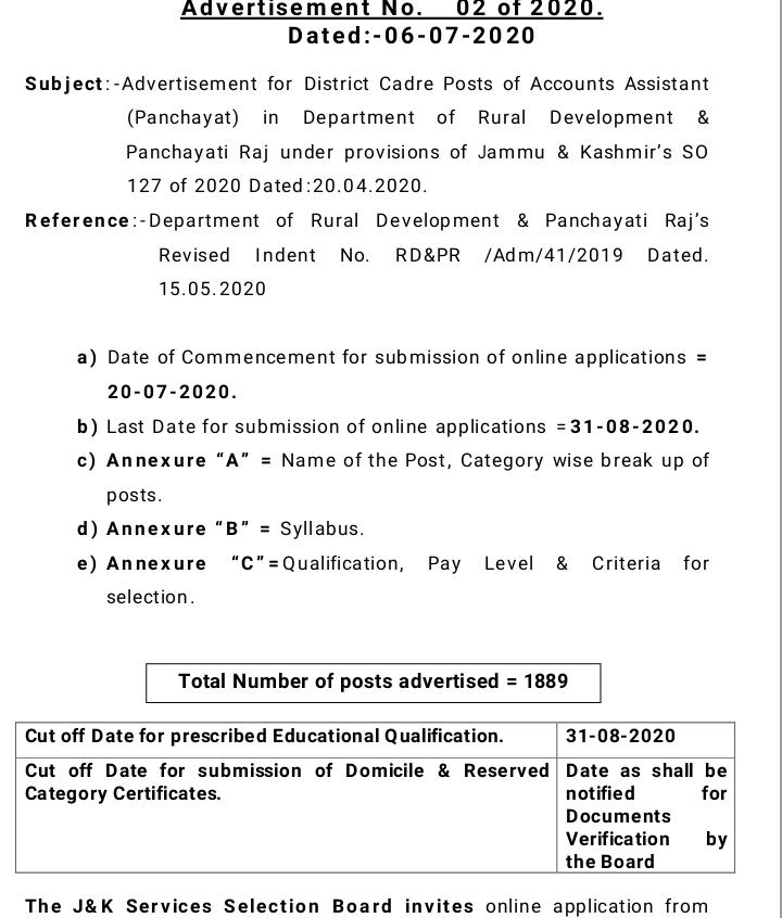 Jammu and Kashmir Service Selection Board (JKSSB) Recruitment 2020 - 1889 Account Assistant